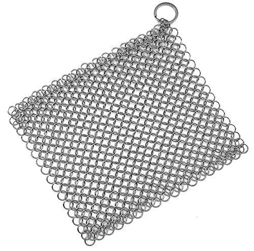 Iron Skillet Cleaner Chainmail Cleaning Scrubber With Hanging Ring for Cast Iron Pan,Pre-Seasoned Pan,Griddle Pans, BBQ Grills and More Pot Cookware-Square 7x7 Inch ()