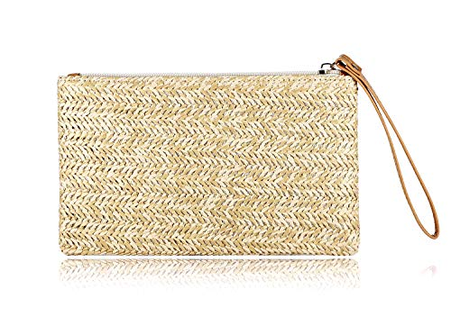 Straw Clutch Purses for Women Bohemian Zipper Wristlet Womens Summer Beach Sea Purse straw bag (Beige-yellow)