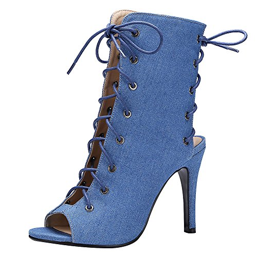 Jamron Women Western Style Stiletto Heel Gladiator Roman Sandals Cut Out Peep Toe Pumps Lace Up Calf Booties Blue O09EJXEhiB