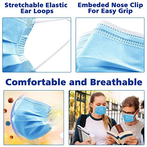 Disposable Face Mask, ESOLOM 3-Ply Facial Cover Masks with Ear Loop, Breathable Non-Woven Mouth Cover for Personal, Suitable for Home, Office, Outdoor- 50 PCS