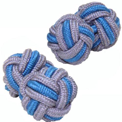 Grey & Mid Blue Silk Knot Cufflinks | Cuffs & Co