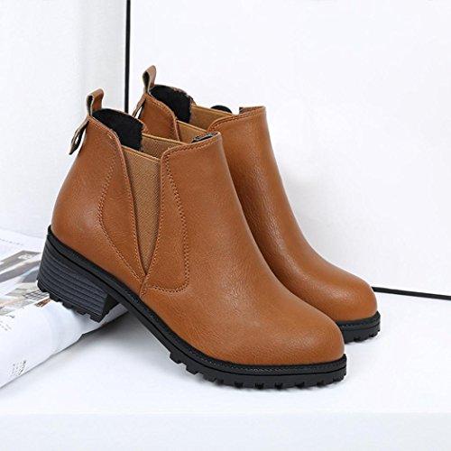 Fullkang New Mujeres Botines De Invierno Low Heels Botas De Moda Otoño Invierno Botas Zapatos Marrón