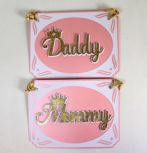All About Details Shimmer Pink & Gold Princess Theme Daddy-Mommy Chair Signs -