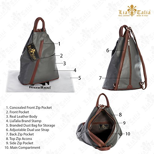 LIATALIA Italian Beige Strap Backpack Soft Light Rucksack Small Unisex Brown Duffle Bag Leather Convertible Trim ALEX rExHCWwrqf