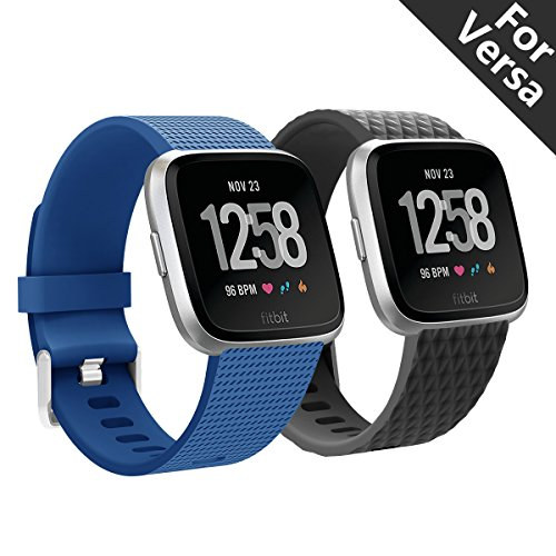 Kutop Bands Compatible for Fitbit Versa Band 2pcs,Bands for Smart Watch Comfortable Soft TPE Sports Waterproof Replacement Fitbit Versa Strap for Both Men and Women ()