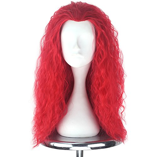 Men Adult Unisex Long Fluffy Curly Party Cosplay Costume Wig Halloween 80s Punk Wig (Red) ()