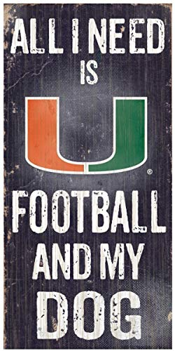 NCAA Official National Collegiate Athletic Association Fan Shop Authentic Wooden Signs -Stake Your Territory. Ideal for The Man Cave Dog Lover (Miami Hurricanes - Football and Dog) (Miami Cheap Furniture)
