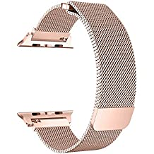 BRG for Apple Watch Band 38mm 42mm, Stainless Steel Mesh Milanese Loop with Adjustable Magnetic Closure Replacement iWatch Band for Apple Watch Series 3 2 1 (Gold (Series 3), 38mm)