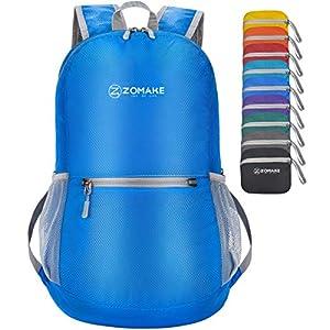 ZOMAKE Faltbarer Leichter Rucksäcke Klein 20L, Unisex Tagesrucksack, Reiserucksack Wasserdicht für Wandern Fahrrad Damen…