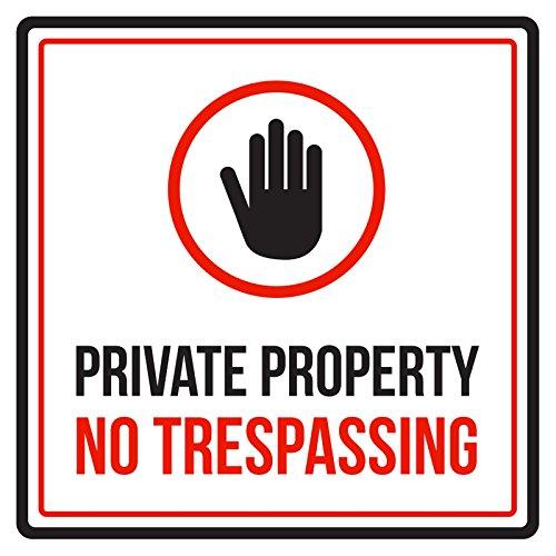 iCandy Products Inc Private Property - Señal de Advertencia Cuadrada para Negocios, sin Pasar, 9 x 9 cm, Multicolor, 9x9, 1