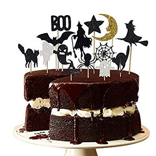 14PCS Halloween Dessert Decoration Topper Set Witch Spider Set Halloween Cake Decoration