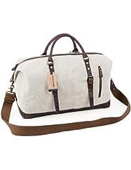 Jack&Chris Oversized Canvas Leather Trim Travel Tote Duffel shoulder handbag Weekend Bag CB1004