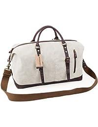 Oversized Canvas Leather Trim Travel Tote Duffel shoulder handbag Weekend Bag CB1004