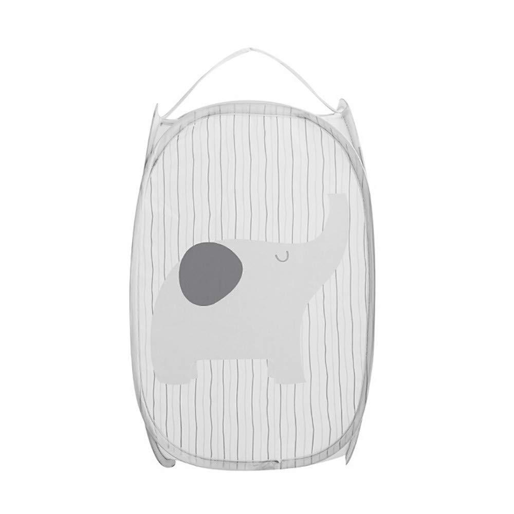 Cartoon Foldable Pop Up Washing Laundry Basket Bag Hamper Mesh Storage