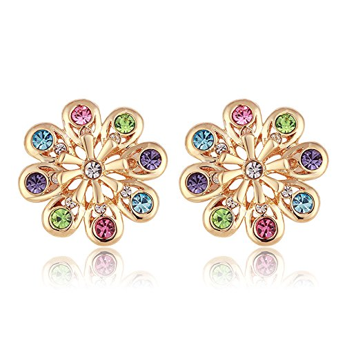 Flower Silver Plated Crystal Cubic Zirconia Stud Earrings for Women Girl Jewelry Gift (1 pair of earrings- Multicolor) (Multi Color Crystal Heart Earrings)