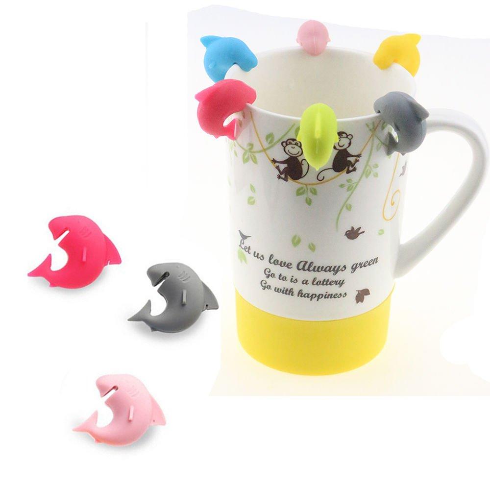 Funnytoday365 Popular 6Pcs Silicone Mini Shark Shape Tea Bag Holders Cup Mug Identify Markers