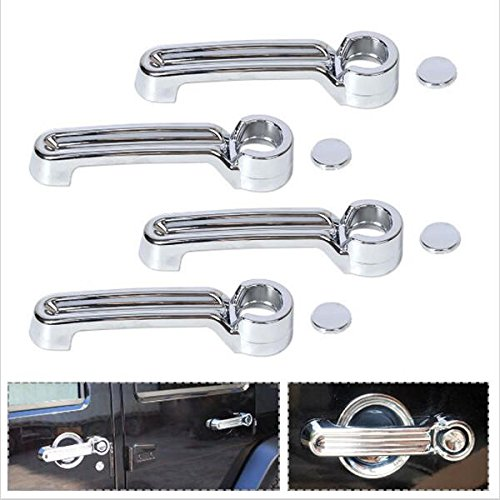 Brand New-One set 4 pcs Silver ABS Door Handle Cover Trim for JEEP Wrangler JK 2007-2016 by Tools Store (Image #2)