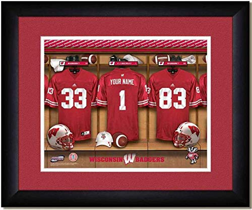 ad8f5bf556b Image Unavailable. Image not available for. Color  Wisconsin Badgers  University Football Team Locker Room Personalized Jersey Officially  Licensed NCAA ...