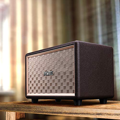 Bluetooth Speakers, TEWELL Retrorock AC Powered Vintage Speaker with 24W Audio Output (Brown) by TEWELL (Image #5)
