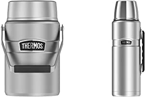 Thermos Stainless King 47 Ounce Vacuum Insulated Food Jar with 2 Inserts, Stainless Steel & Stainless King 68 Ounce Vacuum Insulated Beverage Bottle with Handle, Stainless Steel