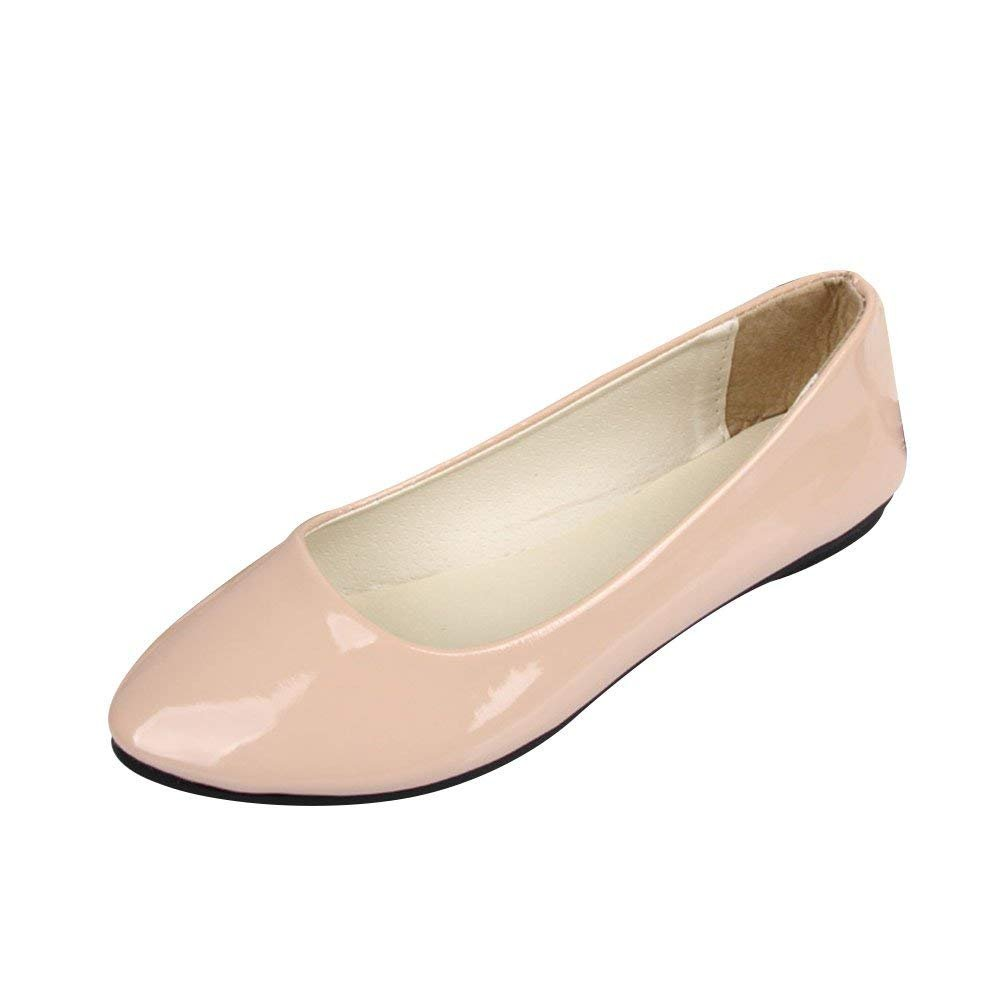 Femme Ballerines Plates Pointue Pointue Glisser sur sur 20000 Depolie Faux Cuir Brillante Mode Simple Chaussures de Été Beige d1cc78c - piero.space