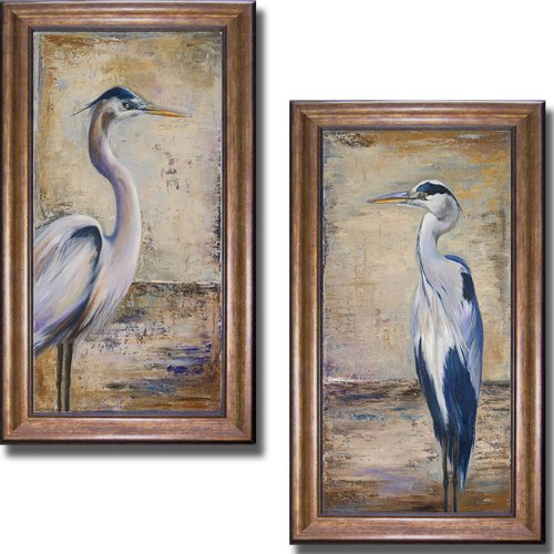 Artistic Home Gallery Blue Heron I & II by Patricia Pinto 2-pc Premium Bronze-Gold Framed Canvas Set (28 in x 16 in each Framed Size in Set, Ready-to-Hang) from Artistic Home Gallery