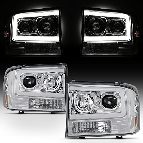 Ford F250 F550 Led - For 1999-2004 F250 F350 F450 F550 SuperDuty LED Tube Bar Projector Headlights Driver+Passenger Side