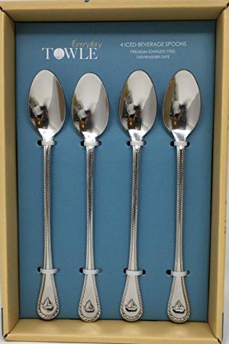 TOWLES Iced-Beverage 4-pc Premium Spoon Set, Stainless Steel