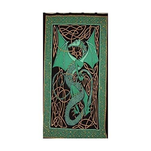 (Celtic Dragon Tab Top Curtain-Drape-Door Panel-Green)