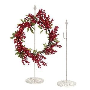 "Darice Standing Metal Wreath Hanger - Antique White - 30"" 59"