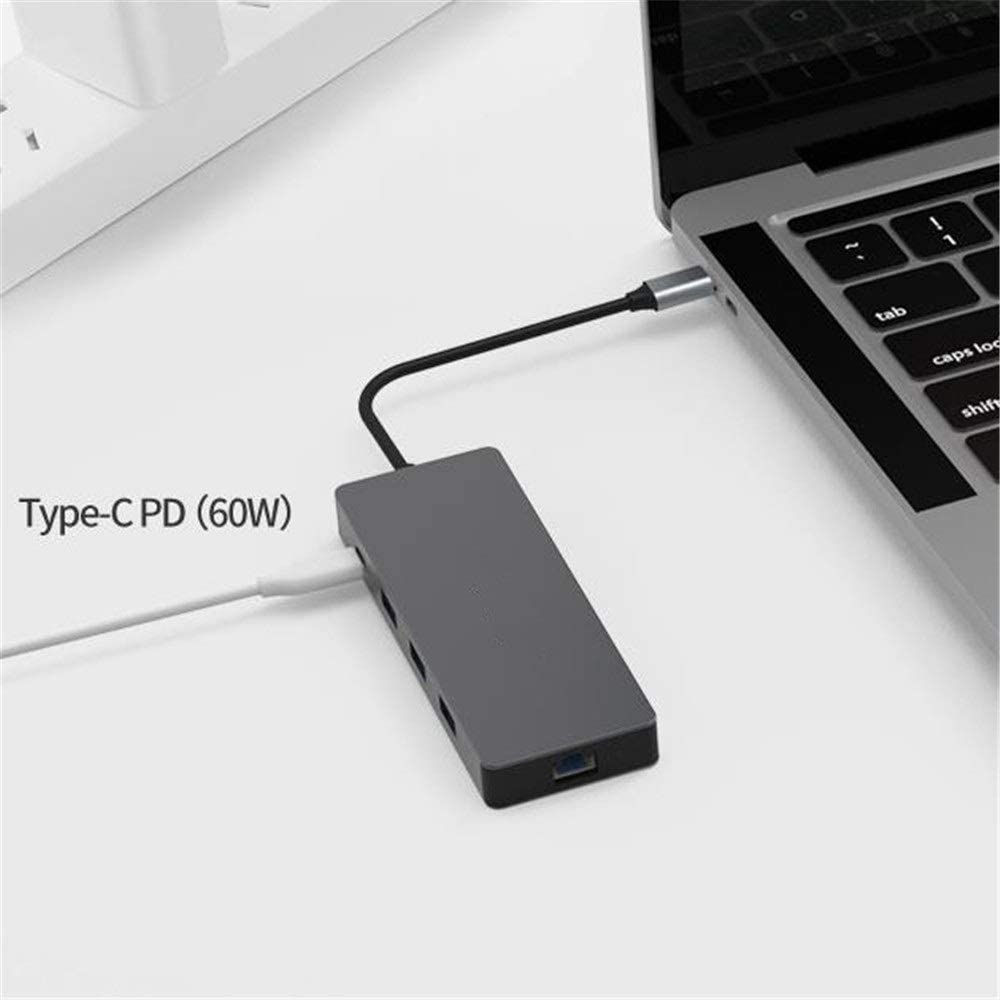 USB Hub Type Color : Gray , Size : 133x48x15mm C Dock Station 9 In 1 USB C Hub With HDMI 4K LAN 3 USB 3.0 Ports 3.5mm Audio PD Charging Support SD TF Card Compatible For Flash Drive Notebook PC
