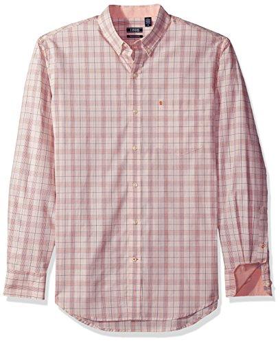 Izod Cotton Shirt - IZOD Men's Essential Tattersal Long Sleeve Shirt, Apricot Brandy, X-Large