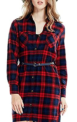 Fulok Womens Plaid Flannel Button Down Shirts Long Sleeve Trench