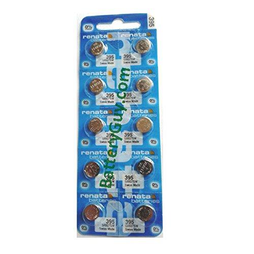 New Renata 10 Pcs/ 1 Card Silver Oxide Battery SR927SW, 395 ()