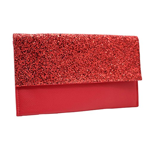 YYW Leather Clutch Bag - Cartera de mano para mujer Red
