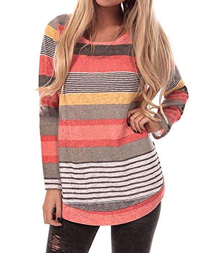 Yidarton Damen Langarm T-Shirt Rundhals Ausschnitt Lose Bluse Hemd Pullover  Oversize Sweatshirt Oberteil Tops 88b0a8699e