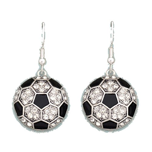 SOCCER Earrings are Embellished with Clear Crystal Rhinestones & Black Lacquer Surfaces.Show Pride in your Favorite Sport! by From the Heart Enterprises