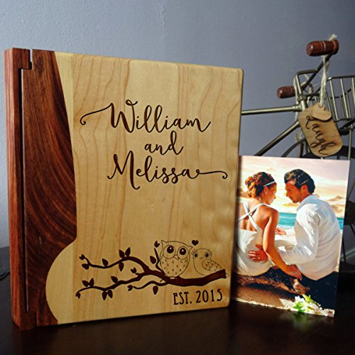 - Personalized Wood Cover Photo Album, Custom Engraved Wedding Album, Style 1008 (Maple & Walnut Cover)