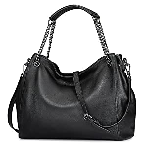 S-ZONE Leather Shoulder Bag for Women Large Crossbody bag Ladies Casual Purse