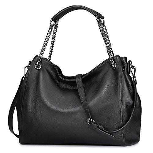 - S-ZONE Leather Shoulder Bag for Women Large Hobo bag Ladies Casual Purse (Black)