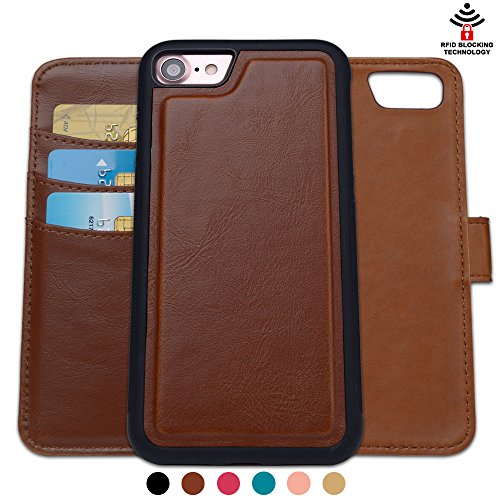 (SHANSHUI Wallet Case Compatible with iPhone 7/8, RFID Blocking Magnetic Closure Detachable 2 in 1 PU Leather Flip Case RFID Blocking Card Holders Cash Pocket(Brown 4.7''))