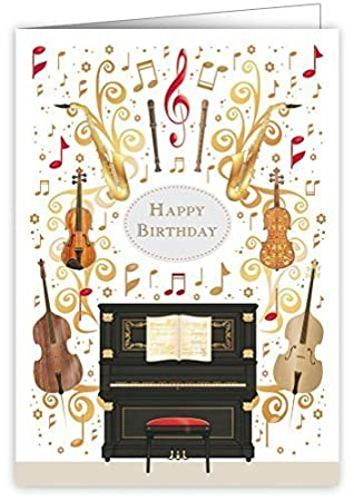 Piano Music Instruments Happy Birthday Greeting Card Beautiful