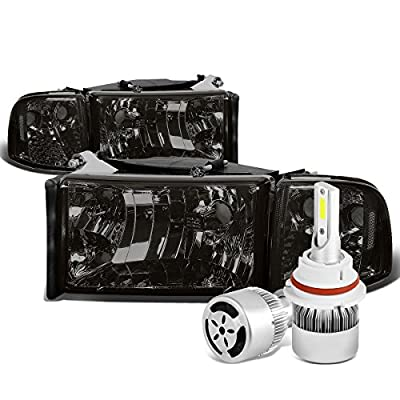 Dodge Ram 2nd Gen BR/BE Smoked Lens Clear Corner Headlight & Corner Light + 9004 LED Conversion Kit W/ Fan
