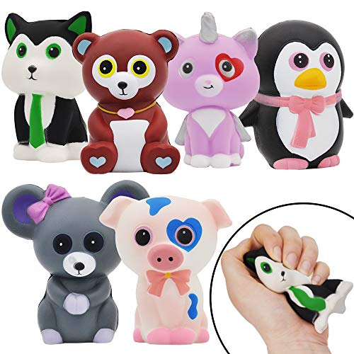 JOYIN 6 Pack Jumbo Size Squishy Animal Toy Slow Rising Stress Relief Super Soft Squeeze Kawaii Animal Friends Toys