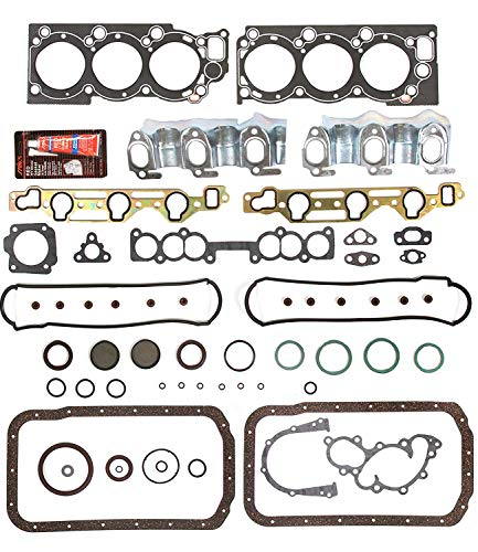 (Head Gasket Full Set Kit Intake Exhaust Manifold Valve Cover Fits For 88-95 Toyota Pickup T100 4Runner 3.0L V6 Engine Code 3VZE Graphite With Sealant Sealer ; Front and Rear Seal Gasket)