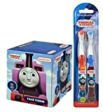 Thomas The Train Kids 2pk Soft Manual Toothbrush Set Plus Bonus Thomas & Friends Bathroom Tissue Box!