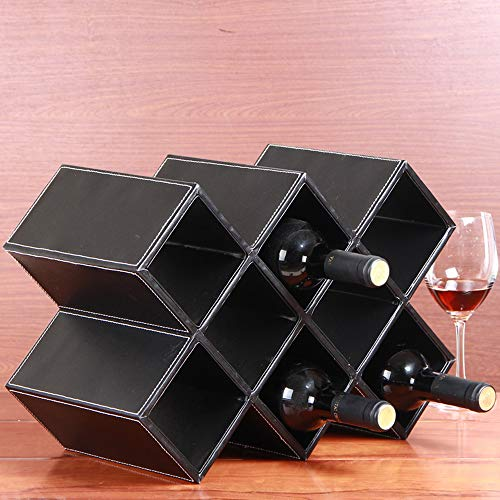 - Solid Wood Wine Rack European-Style Simulation Leather Wine Cabinet Can Store 5-8 Bottles of Red Wine Multiple Colour Suitable for Bars, Wine Cellars, Basements, Cabinets, Pantry