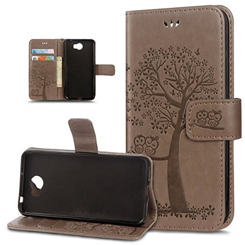 (Huawei Y5 II Case,Huawei Y5 II Cover,ikasus Embossing Owl Butterfly Cherry Blossoms Tree Pattern Flip Folio Wallet Case PU Leather Stand Protective Case Cover for Huawei Y5 II,Gray)