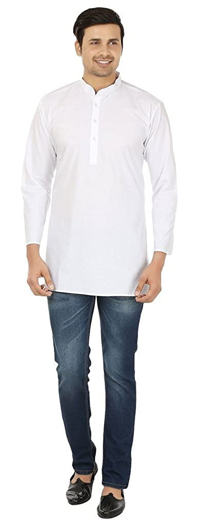 Royal Men's 100% Cotton Traditional White Full Sleeved Kurta Kurta ROYAL-2003-WHITE-FS-KURTI-