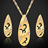 GDSTAR Gold Earrings & Pendant Necklaces Jewelry Sets For Women 18K Real Gold Plated Rhinestone Stud Earrings Jewelry Set Fashion